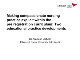 Teaching and measuring compassionate care in pre registration