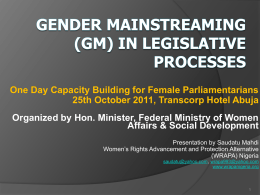 Gender Mainstreaming (GM) in Legislative Processes