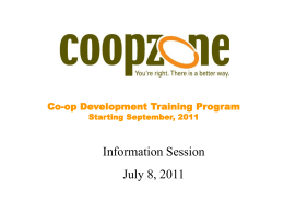 CoopZone Development Training Program Powerpoint Information
