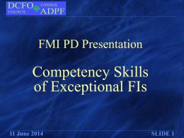 Competency Skills of Exceptional FIs