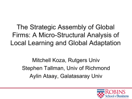 The Strategic Assembly of Global Firms: A Microstructural Analysis
