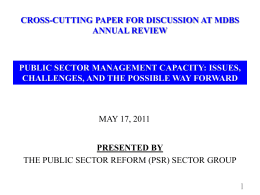 Public Sector Management Capacity