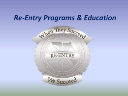 Re-Entry Programs & Education - Florida Department of Corrections