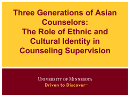 Three generations of Asian counselors