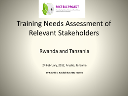 Training Needs Assessment of Relevant Stakeholders