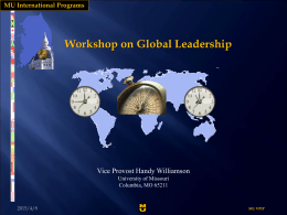 A Speech at the Workshop for Global Leadership