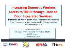 TUAB044 – Increasing Domestic Workers Access To Srhr Through