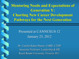 Mentoring Needs and Expectations of Generation Y