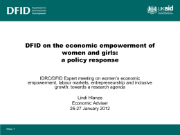 DFID on the economic empowerment of women and girls