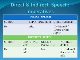 Direct & Indirect Speech: Imperatives