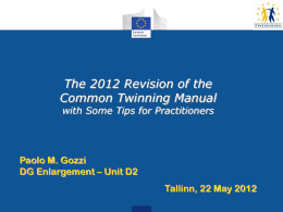 Negotiation of the contract Revision Twinning Manual 2012
