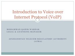 A Quick Introduction to Voice over Internet Protocol