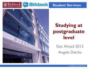 Studying at postgraduate level