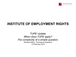 Richard Arthur - When does TUPE apply