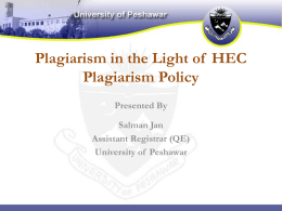 HEC Plagiarism Policy - University of Peshawar