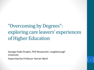 """Overcoming by Degrees"": exploring care leavers"