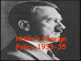 Hitlers Foreign Policy - Coatbridge High School