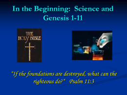 3 - In the Beginning: Science and Genesis 1-11
