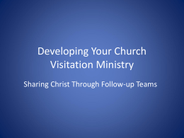 Developing a Church visitation ministry