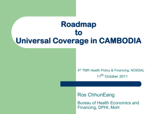 Roadmap to universal coverage in Cambodia