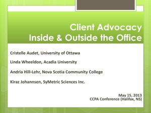 Client Advocacy Inside and Outside the Counselling Office