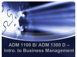 ADM 1100 M – Introduction to Business Management