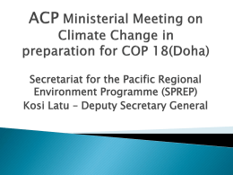 ACP Ministerial Meeting on Climate Change in preparation for COP