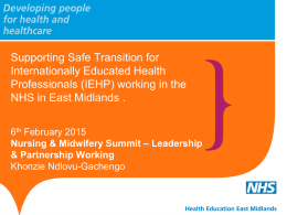 Supporting Safe Transition for Internationally Educated Health