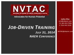 Job Driven Training Presentation