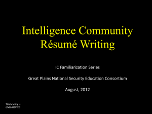 Preparing an IC Résumé (PowerPoint Presentation)