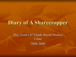 Diary of A Sharecropper - Olde English Consortium