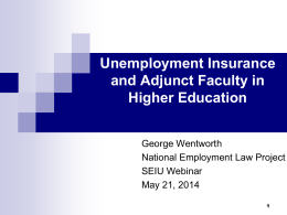 Unemployment Insurance in Higher Education Power Point