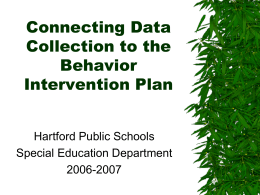 Connecting data to Behavior Intervention