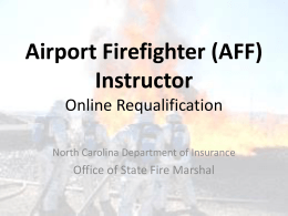 Airport Firefighter Online Instructor Requalification
