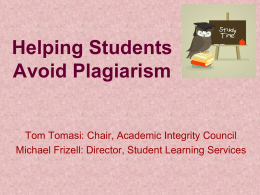 Helping Students Avoid Plagiarism