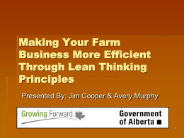 Why Lean Thinking? - Agriculture and Rural Development