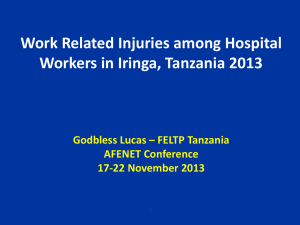 Work Related Injuries among Hospital Workers in Iringa, Tanzania