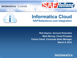 Informatica Cloud for SAP