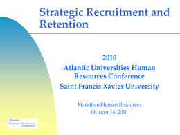 Strategic Recruitment and Retention October 2010