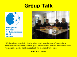 Group talk 45 min pres