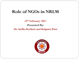 Role of NGOs in NRLM Final