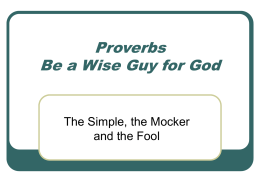 Proverbs - Be a Wise Guy for God