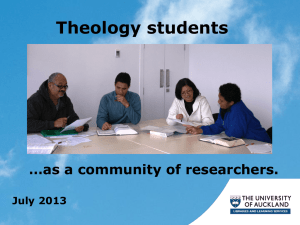 Theology students - ResearchSpace@Auckland
