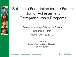 JA Be Entrepreneurial - Consortium for Entrepreneurship Education