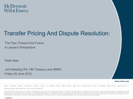 Transfer Pricing And Dispute Resolution: - IFA-UK