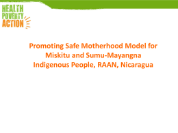 Promoting safe motherhood amongst the Miskitu and