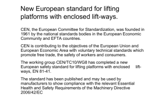 European Standard For Lifting Platforms