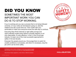Safety Moment #8 - Stop Work Authority