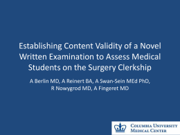 Establishing Content Validity of a Novel Written Examination to
