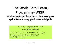 (WELP) for developing entrepreneurship in organic agriculture